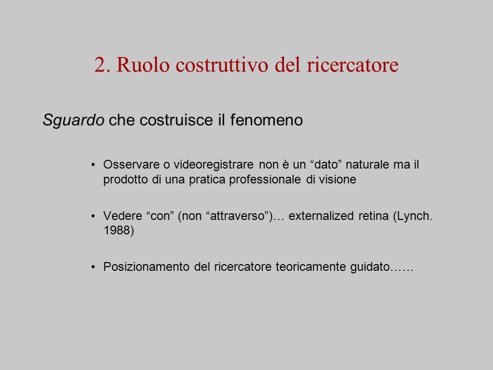 """2. Ruolo costruttivo del ricercatore Sguardo che costruisce il fenomeno Osservare o videoregistrare non è un """"dato"""" naturale ma il prodotto di una pra"""