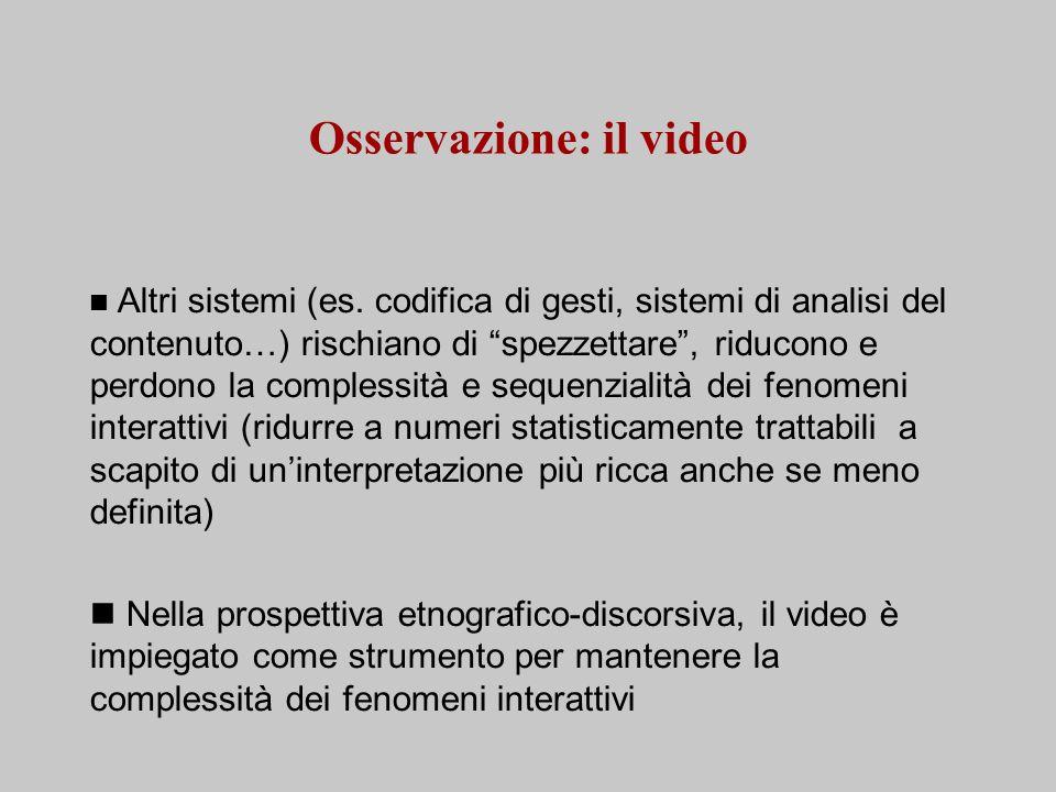 Osservazione: il video Altri sistemi (es.
