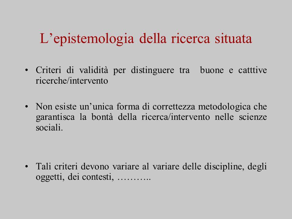L'epistemologia della ricerca situata Criteri di validità per distinguere tra buone e catttive ricerche/intervento Non esiste un'unica forma di correttezza metodologica che garantisca la bontà della ricerca/intervento nelle scienze sociali.