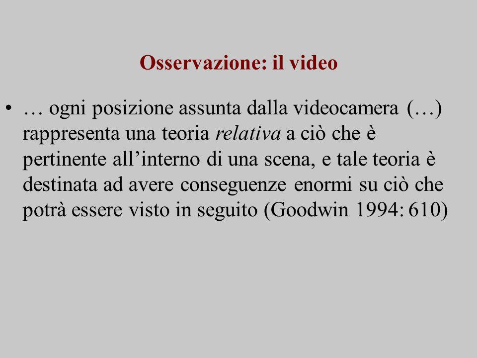 Osservazione: il video … ogni posizione assunta dalla videocamera (…) rappresenta una teoria relativa a ciò che è pertinente all'interno di una scena, e tale teoria è destinata ad avere conseguenze enormi su ciò che potrà essere visto in seguito (Goodwin 1994: 610)