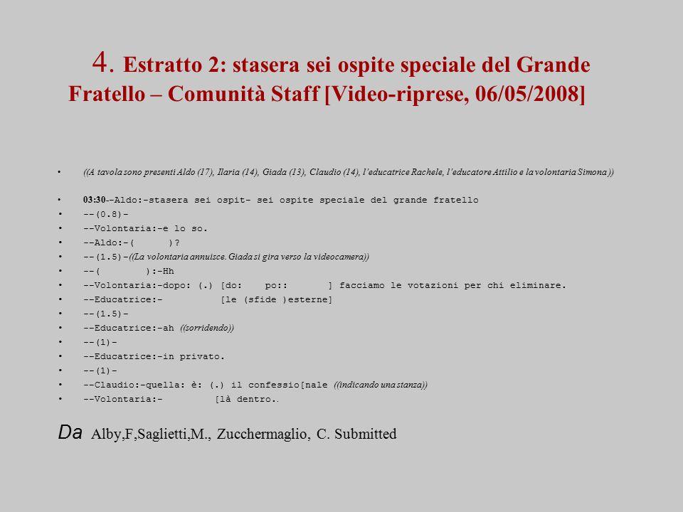 4. Estratto 2: stasera sei ospite speciale del Grande Fratello – Comunità Staff [Video-riprese, 06/05/2008] ((A tavola sono presenti Aldo (17), Ilaria