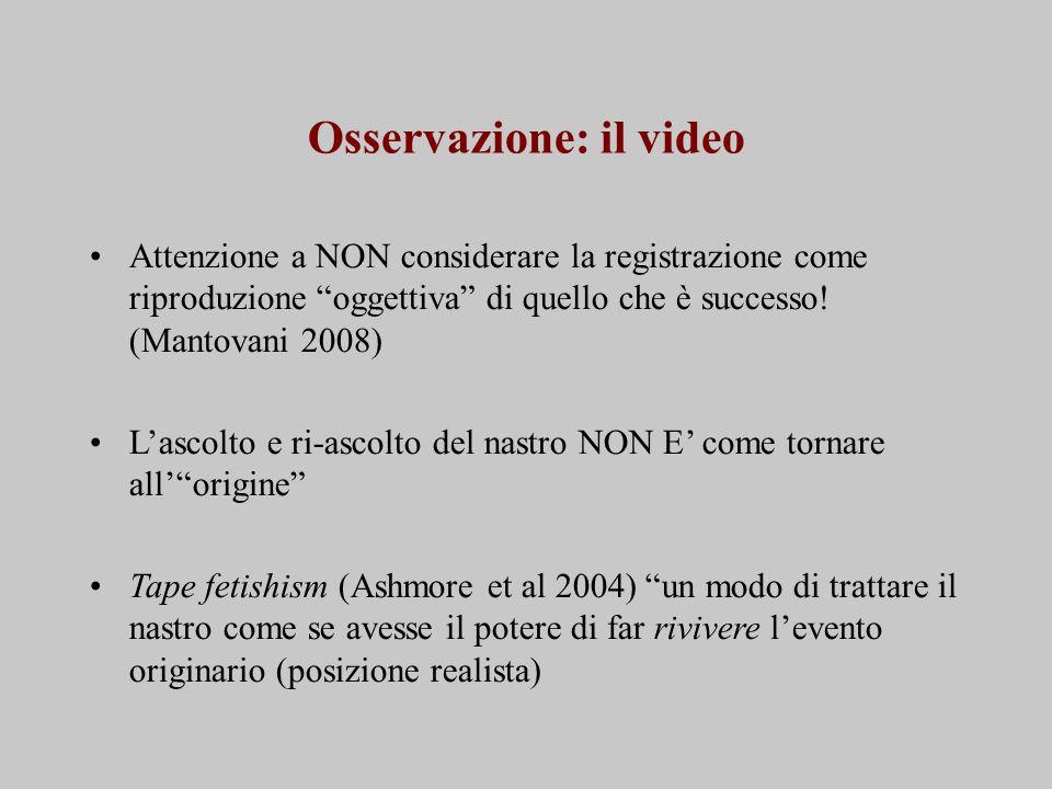 Osservazione: il video Attenzione a NON considerare la registrazione come riproduzione oggettiva di quello che è successo.