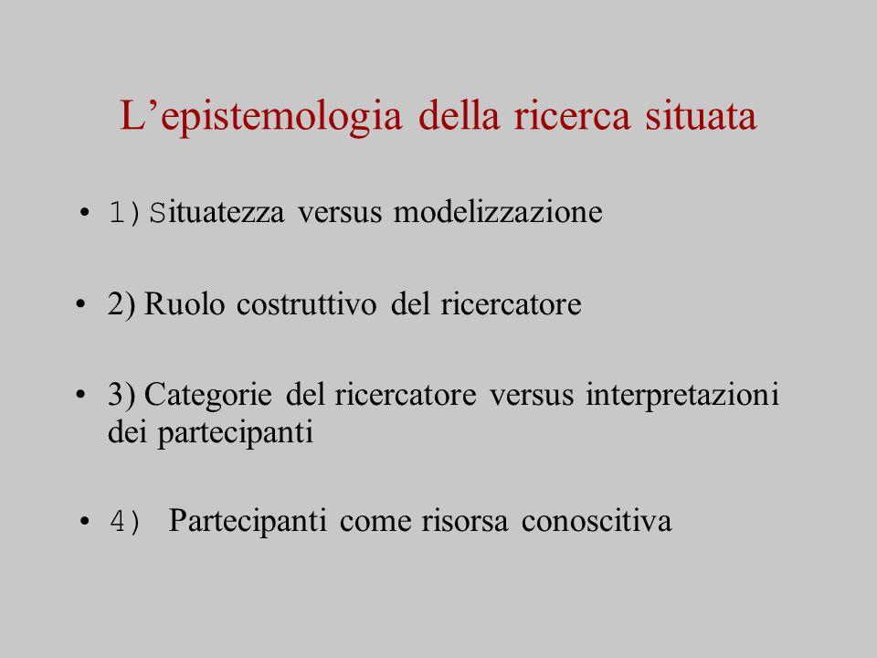L'epistemologia della ricerca situata 1)S ituatezza versus modelizzazione 2) Ruolo costruttivo del ricercatore 3) Categorie del ricercatore versus interpretazioni dei partecipanti 4) Partecipanti come risorsa conoscitiva