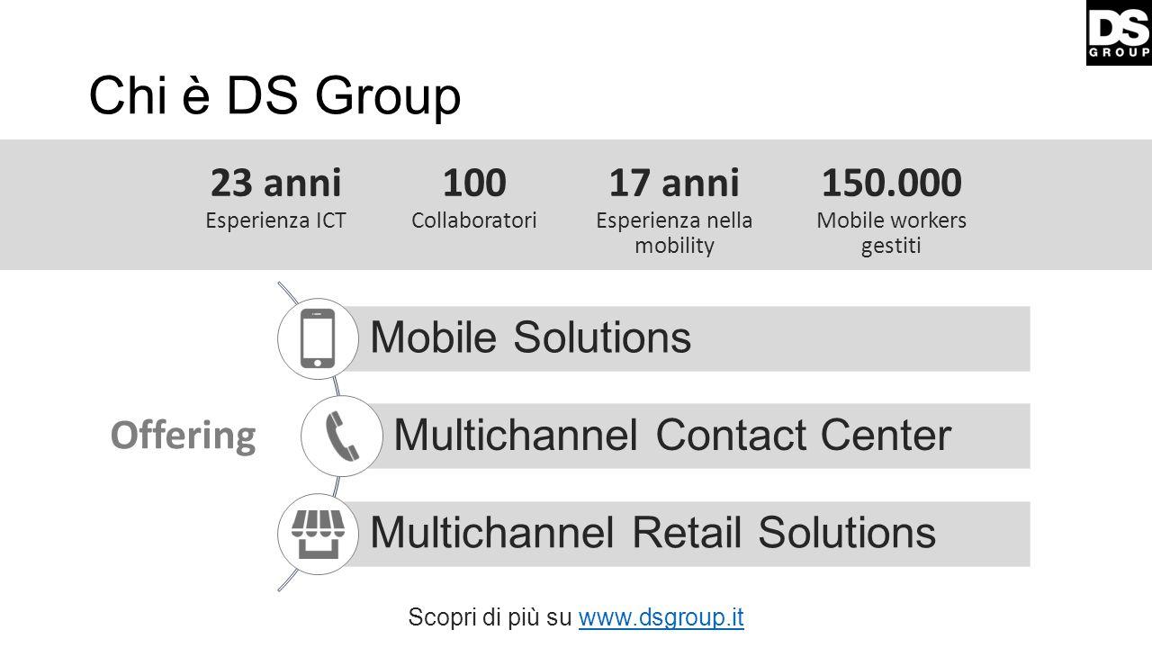 Chi è DS Group 23 anni Esperienza ICT 100 Collaboratori 17 anni Esperienza nella mobility 150.000 Mobile workers gestiti Mobile Solutions Multichannel