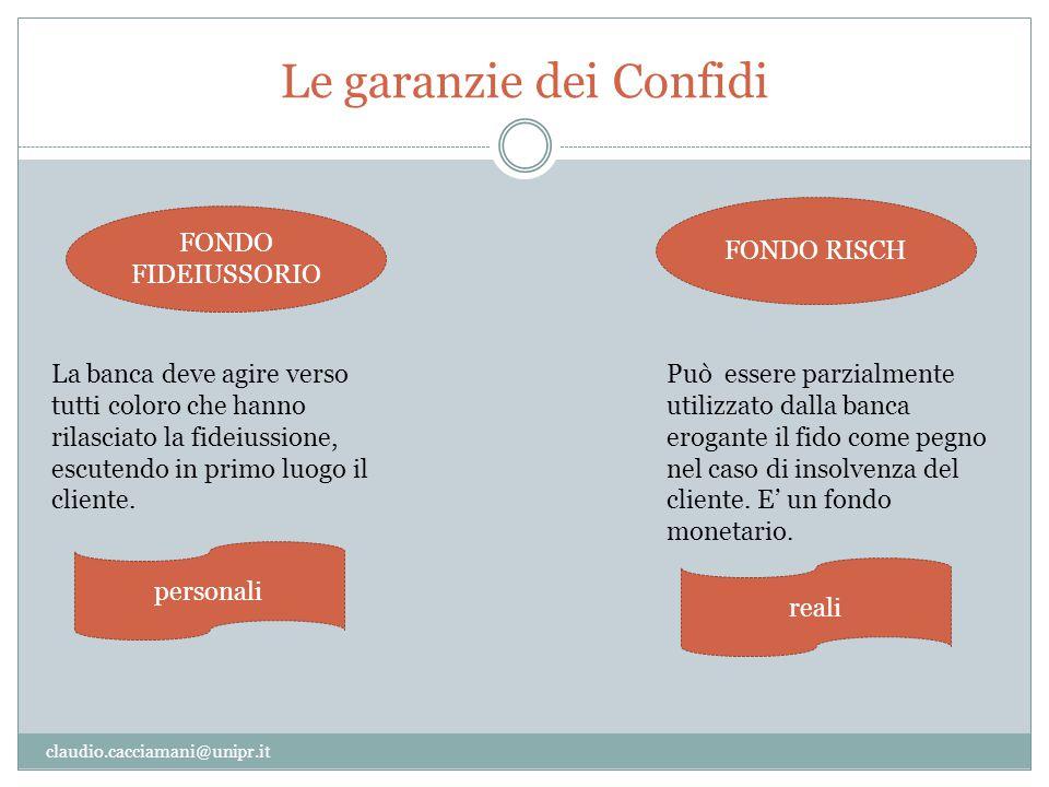 Le garanzie dei Confidi claudio.cacciamani@unipr.it FONDO FIDEIUSSORIO FONDO RISCH Può essere parzialmente utilizzato dalla banca erogante il fido com