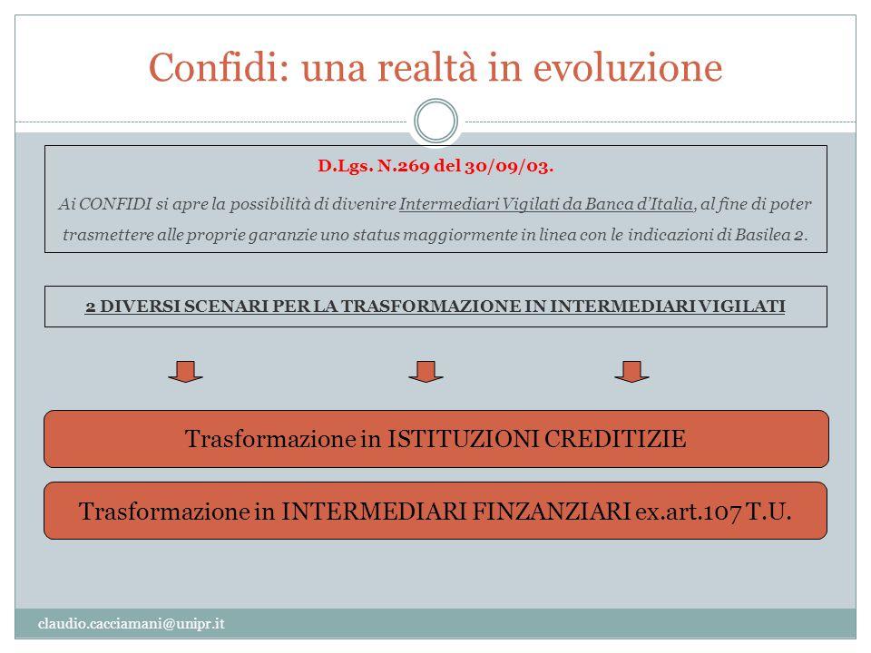 Confidi: una realtà in evoluzione claudio.cacciamani@unipr.it D.Lgs. N.269 del 30/09/03. Ai CONFIDI si apre la possibilità di divenire Intermediari Vi