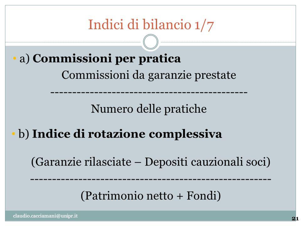 Indici di bilancio 1/7 21 Commissioni da garanzie prestate --------------------------------------------- Numero delle pratiche a) Commissioni per prat