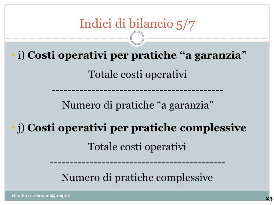 "Indici di bilancio 5/7 25 Totale costi operativi ------------------------------------------- Numero di pratiche ""a garanzia"" i) Costi operativi per pr"