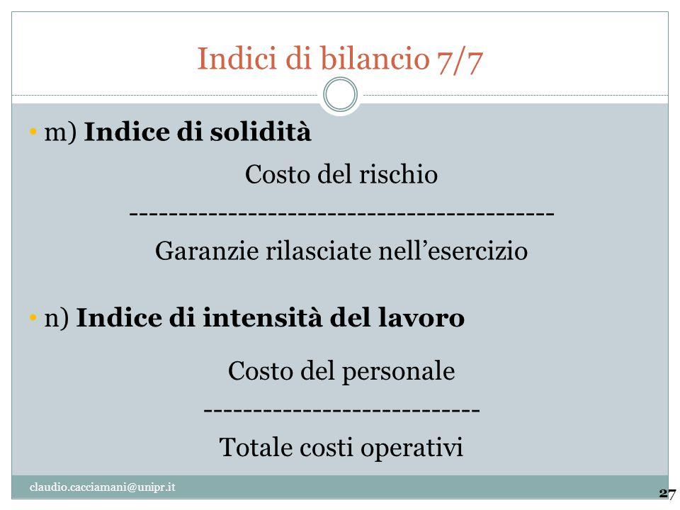 Indici di bilancio 7/7 27 Costo del rischio ------------------------------------------- Garanzie rilasciate nell'esercizio m) Indice di solidità Costo
