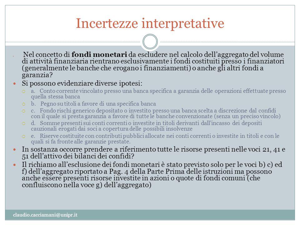 Incertezze interpretative claudio.cacciamani@unipr.it Nel concetto di fondi monetari da escludere nel calcolo dell'aggregato del volume di attività fi