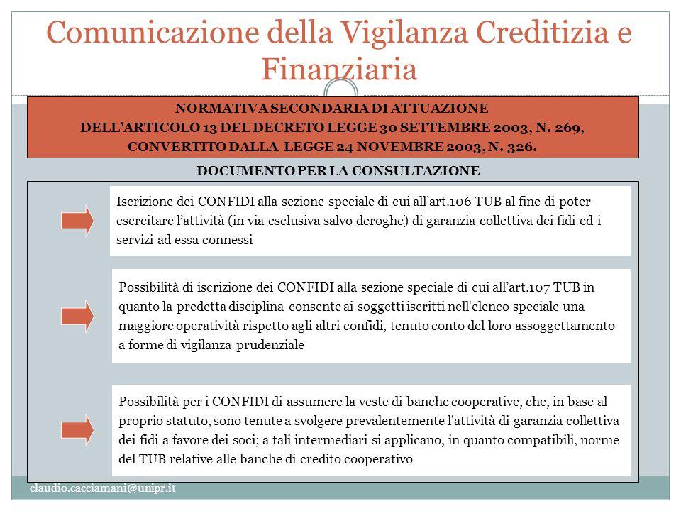 Comunicazione della Vigilanza Creditizia e Finanziaria claudio.cacciamani@unipr.it NORMATIVA SECONDARIA DI ATTUAZIONE DELL'ARTICOLO 13 DEL DECRETO LEG