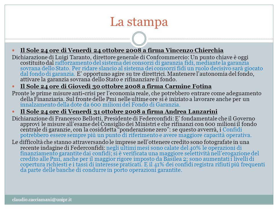 La stampa claudio.cacciamani@unipr.it Il Sole 24 ore di Venerdì 24 ottobre 2008 a firma Vincenzo Chierchia Dichiarazione di Luigi Taranto, direttore g