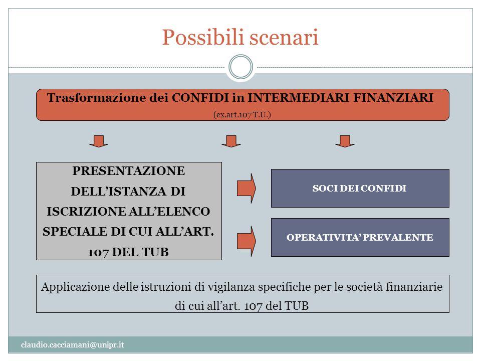 Possibili scenari claudio.cacciamani@unipr.it Trasformazione dei CONFIDI in INTERMEDIARI FINANZIARI (ex.art.107 T.U.) PRESENTAZIONE DELL'ISTANZA DI IS