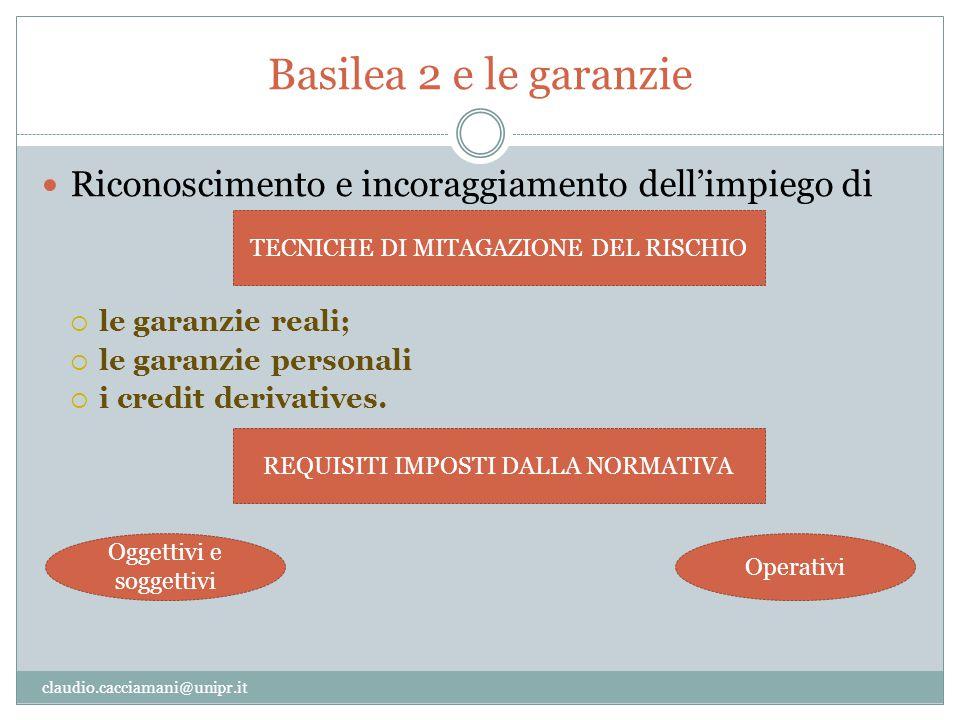 Basilea 2 e le garanzie claudio.cacciamani@unipr.it Riconoscimento e incoraggiamento dell'impiego di  le garanzie reali;  le garanzie personali  i