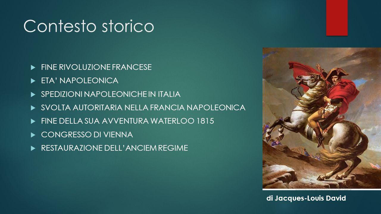 Contesto storico  FINE RIVOLUZIONE FRANCESE  ETA' NAPOLEONICA  SPEDIZIONI NAPOLEONICHE IN ITALIA  SVOLTA AUTORITARIA NELLA FRANCIA NAPOLEONICA  F