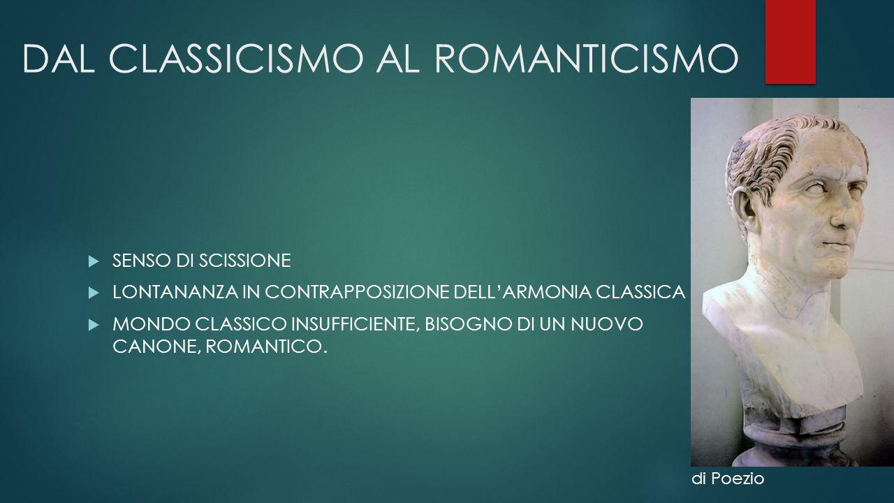 DAL CLASSICISMO AL ROMANTICISMO  SENSO DI SCISSIONE  LONTANANZA IN CONTRAPPOSIZIONE DELL'ARMONIA CLASSICA  MONDO CLASSICO INSUFFICIENTE, BISOGNO DI