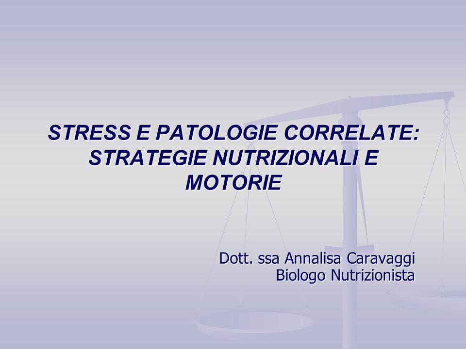 Dott. ssa Annalisa Caravaggi Biologo Nutrizionista STRESS E PATOLOGIE CORRELATE: STRATEGIE NUTRIZIONALI E MOTORIE