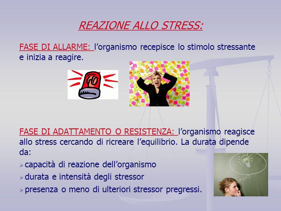REAZIONE ALLO STRESS: FASE DI ALLARME: l'organismo recepisce lo stimolo stressante e inizia a reagire. FASE DI ADATTAMENTO O RESISTENZA: l'organismo r