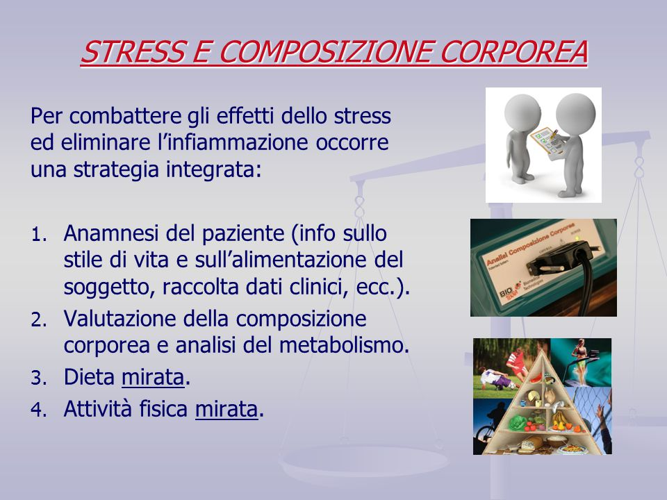 Per combattere gli effetti dello stress ed eliminare l'infiammazione occorre una strategia integrata: 1. 1. Anamnesi del paziente (info sullo stile di