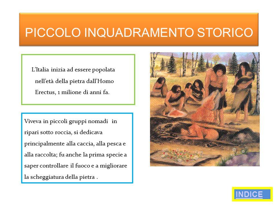 L'Italia inizia ad essere popolata nell'età della pietra dall'Homo Erectus, 1 milione di anni fa. PICCOLO INQUADRAMENTO STORICO Viveva in piccoli grup