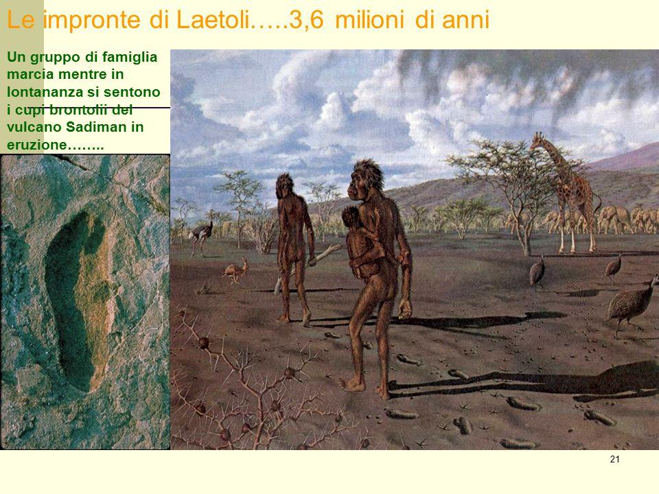 21 Le impronte di Laetoli…..3,6 milioni di anni Un gruppo di famiglia marcia mentre in lontananza si sentono i cupi brontolii del vulcano Sadiman in e