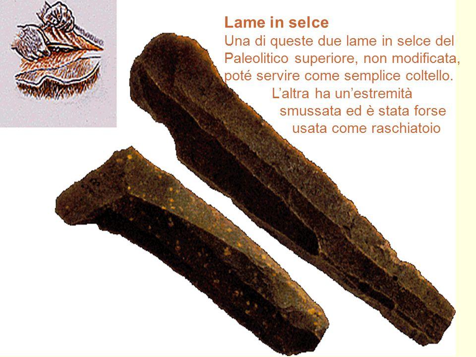 27 Lame in selce Una di queste due lame in selce del Paleolitico superiore, non modificata, poté servire come semplice coltello. L'altra ha un'estremi