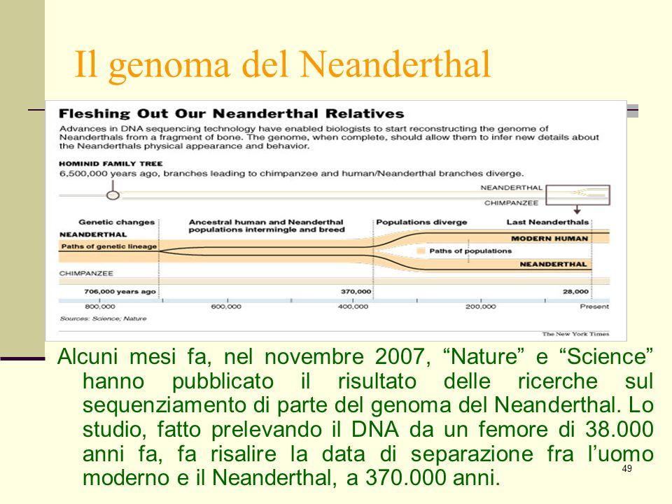 """49 Il genoma del Neanderthal Alcuni mesi fa, nel novembre 2007, """"Nature"""" e """"Science"""" hanno pubblicato il risultato delle ricerche sul sequenziamento d"""