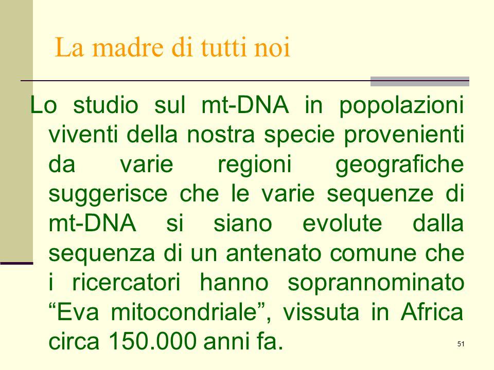 51 La madre di tutti noi Lo studio sul mt-DNA in popolazioni viventi della nostra specie provenienti da varie regioni geografiche suggerisce che le va