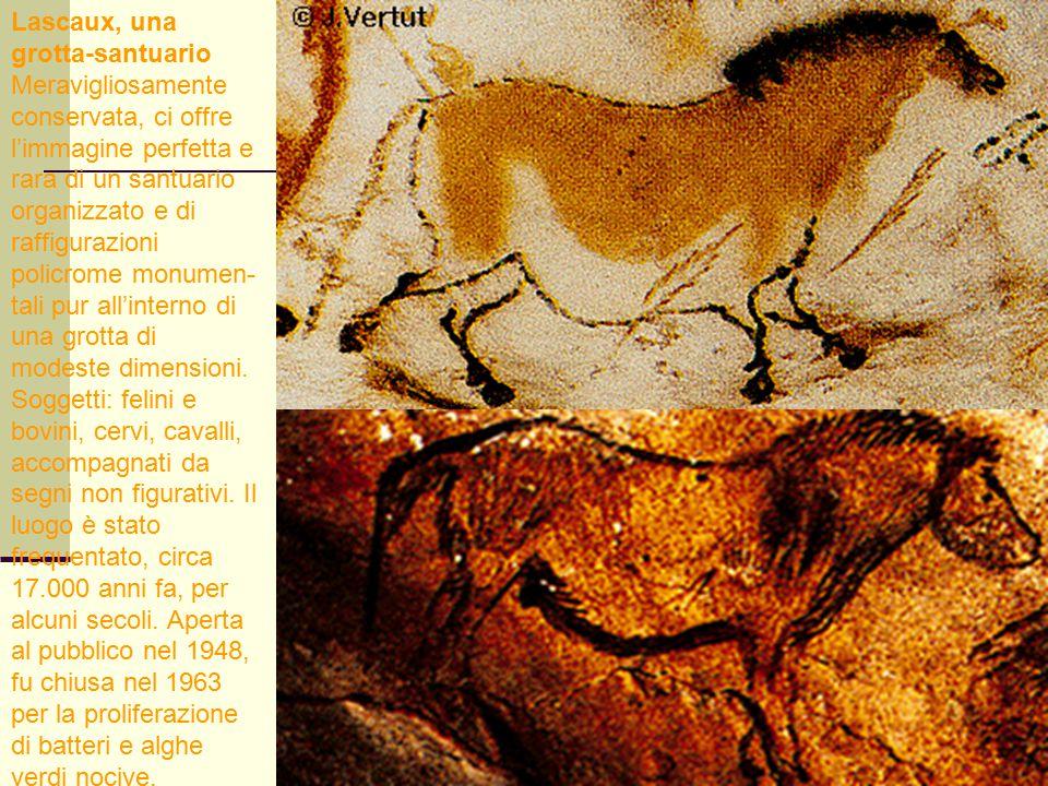 57 Lascaux, una grotta-santuario Meravigliosamente conservata, ci offre l'immagine perfetta e rara di un santuario organizzato e di raffigurazioni pol