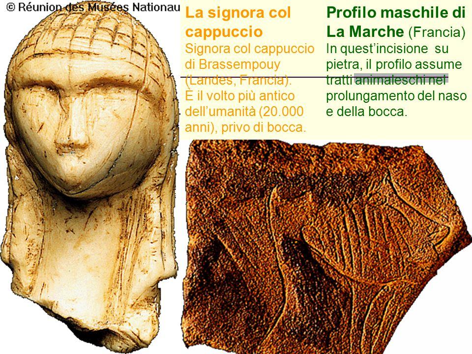 64 La signora col cappuccio Signora col cappuccio di Brassempouy (Landes, Francia). È il volto più antico dell'umanità (20.000 anni), privo di bocca.