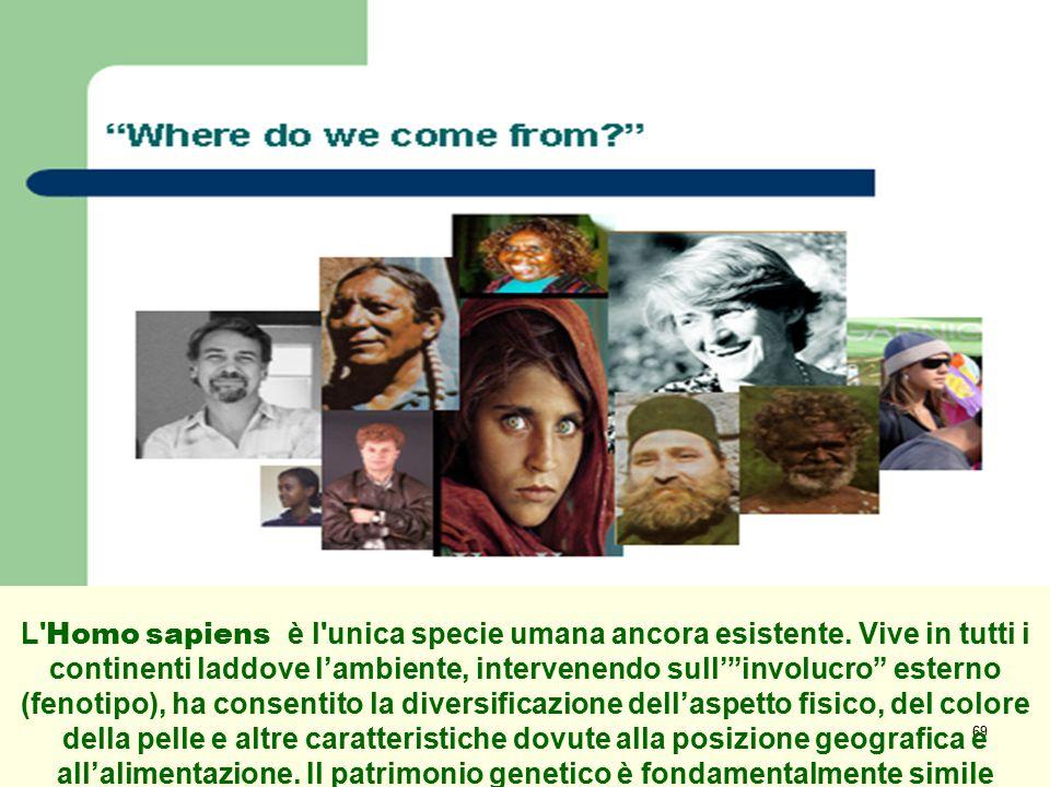 """69 L' Homo sapiens è l'unica specie umana ancora esistente. Vive in tutti i continenti laddove l'ambiente, intervenendo sull'""""involucro"""" esterno (feno"""