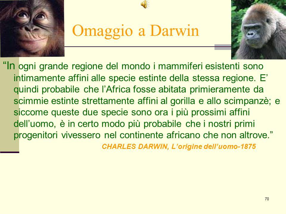"""70 Omaggio a Darwin """"In ogni grande regione del mondo i mammiferi esistenti sono intimamente affini alle specie estinte della stessa regione. E' quind"""