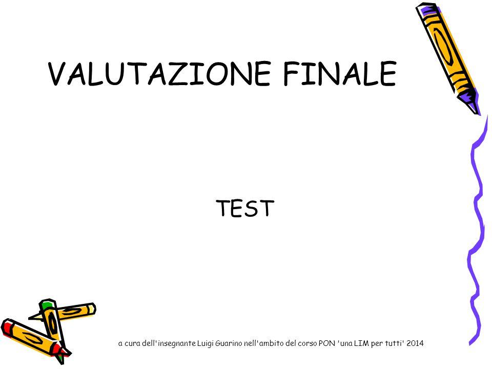 VALUTAZIONE FINALE TEST a cura dell'insegnante Luigi Guarino nell'ambito del corso PON 'una LIM per tutti' 2014