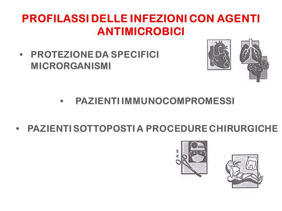 PROFILASSI DELLE INFEZIONI CON AGENTI ANTIMICROBICI PROTEZIONE DA SPECIFICI MICRORGANISMI PAZIENTI SOTTOPOSTI A PROCEDURE CHIRURGICHE PAZIENTI IMMUNOCOMPROMESSI