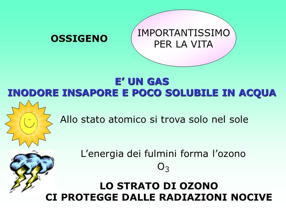 OSSIGENO IMPORTANTISSIMO PER LA VITA E' UN GAS INODORE INSAPORE E POCO SOLUBILE IN ACQUA Allo stato atomico si trova solo nel sole L'energia dei fulmi