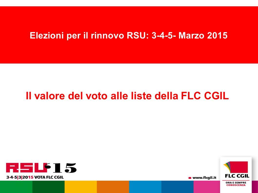 Elezioni per il rinnovo RSU: 3-4-5- Marzo 2015 Il valore del voto alle liste della FLC CGIL