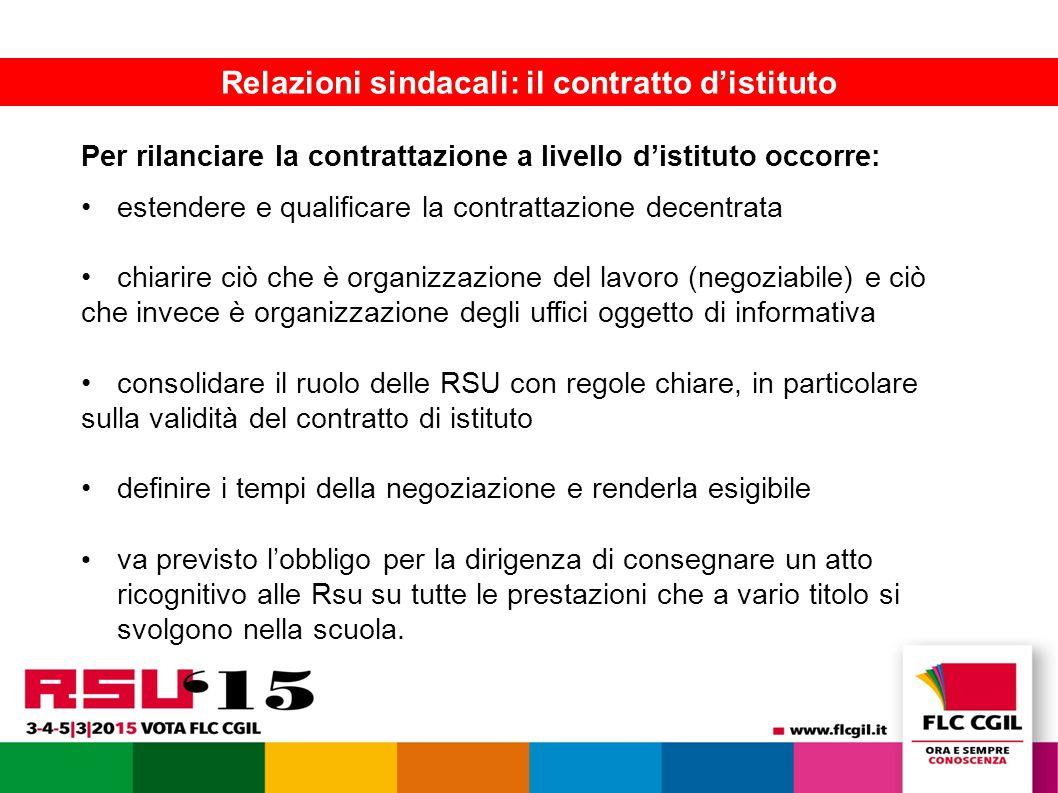 La FLC presenta le piattaforme contrattuali 10 Relazioni sindacali: il contratto d'istituto Per rilanciare la contrattazione a livello d'istituto occorre: estendere e qualificare la contrattazione decentrata chiarire ciò che è organizzazione del lavoro (negoziabile) e ciò che invece è organizzazione degli uffici oggetto di informativa consolidare il ruolo delle RSU con regole chiare, in particolare sulla validità del contratto di istituto definire i tempi della negoziazione e renderla esigibile va previsto l'obbligo per la dirigenza di consegnare un atto ricognitivo alle Rsu su tutte le prestazioni che a vario titolo si svolgono nella scuola.