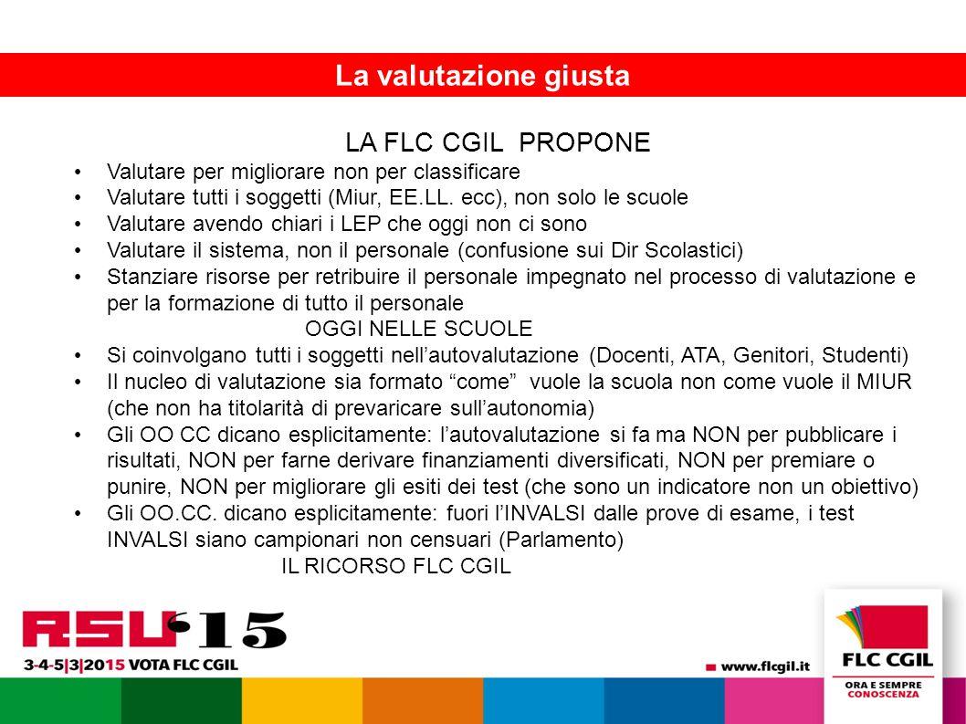 La FLC presenta le piattaforme contrattuali 11 La valutazione giusta LA FLC CGIL PROPONE Valutare per migliorare non per classificare Valutare tutti i soggetti (Miur, EE.LL.