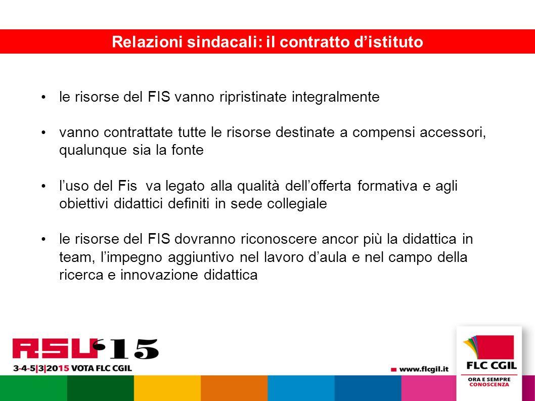 La FLC presenta le piattaforme contrattuali 12 Relazioni sindacali: il contratto d'istituto le risorse del FIS vanno ripristinate integralmente vanno contrattate tutte le risorse destinate a compensi accessori, qualunque sia la fonte l'uso del Fis va legato alla qualità dell'offerta formativa e agli obiettivi didattici definiti in sede collegiale le risorse del FIS dovranno riconoscere ancor più la didattica in team, l'impegno aggiuntivo nel lavoro d'aula e nel campo della ricerca e innovazione didattica