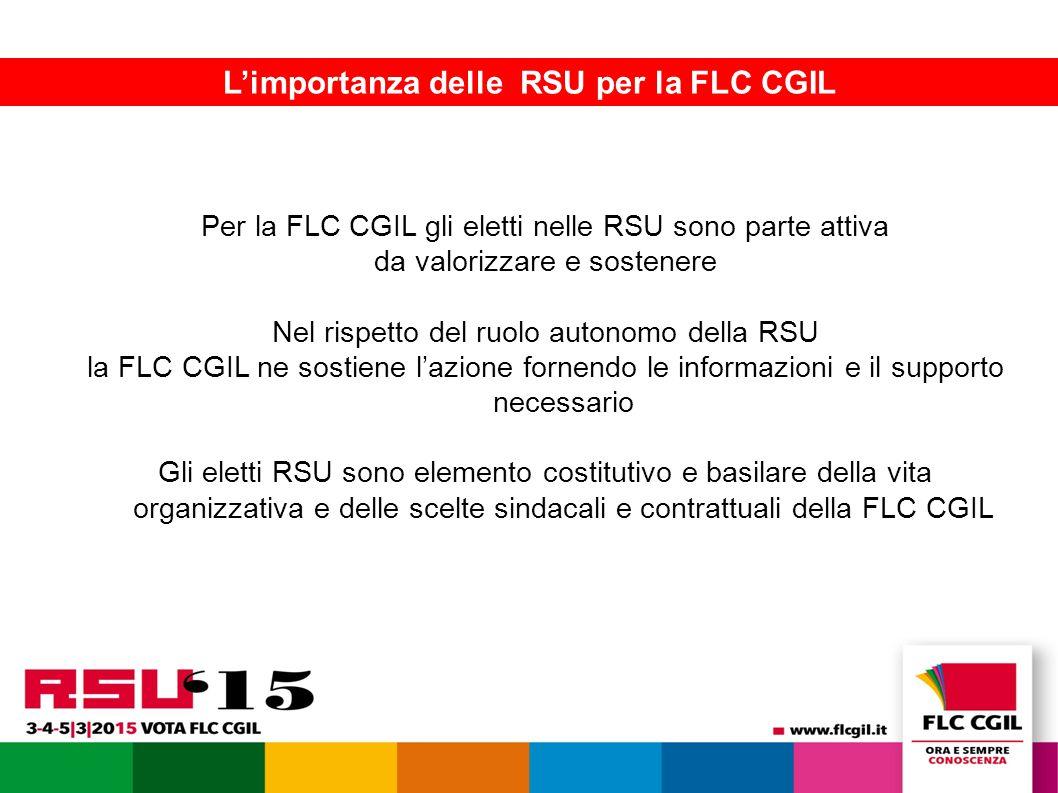La FLC presenta le piattaforme contrattuali 16 L'importanza delle RSU per la FLC CGIL Per la FLC CGIL gli eletti nelle RSU sono parte attiva da valorizzare e sostenere Nel rispetto del ruolo autonomo della RSU la FLC CGIL ne sostiene l'azione fornendo le informazioni e il supporto necessario Gli eletti RSU sono elemento costitutivo e basilare della vita organizzativa e delle scelte sindacali e contrattuali della FLC CGIL