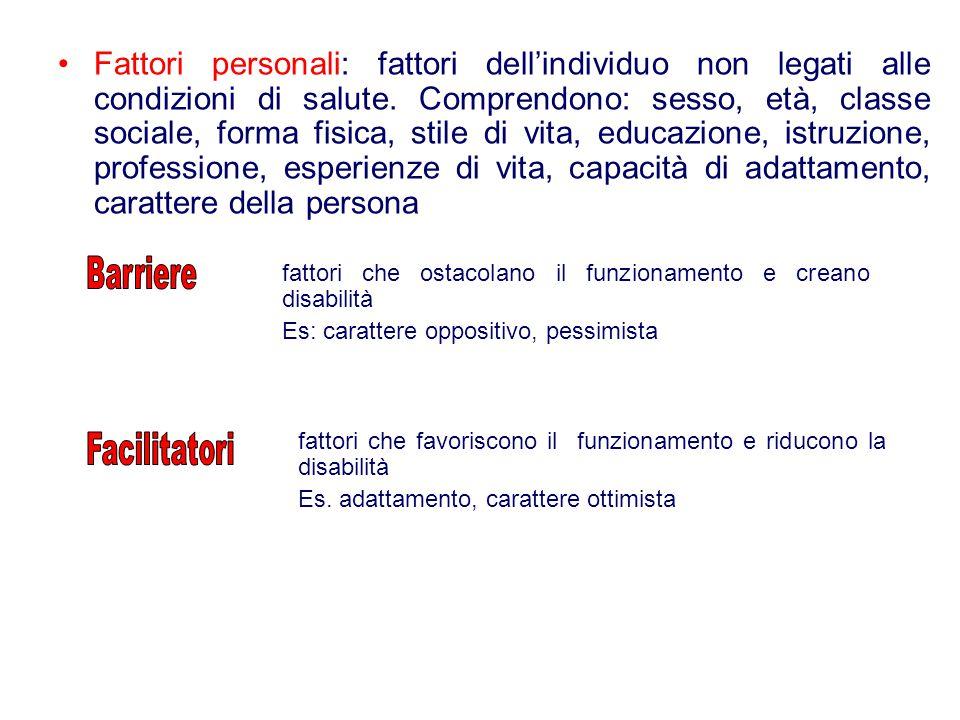 Fattori personali: fattori dell'individuo non legati alle condizioni di salute. Comprendono: sesso, età, classe sociale, forma fisica, stile di vita,