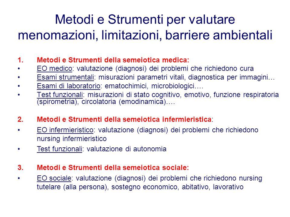 Metodi e Strumenti per valutare menomazioni, limitazioni, barriere ambientali 1.Metodi e Strumenti della semeiotica medica: EO medico: valutazione (di