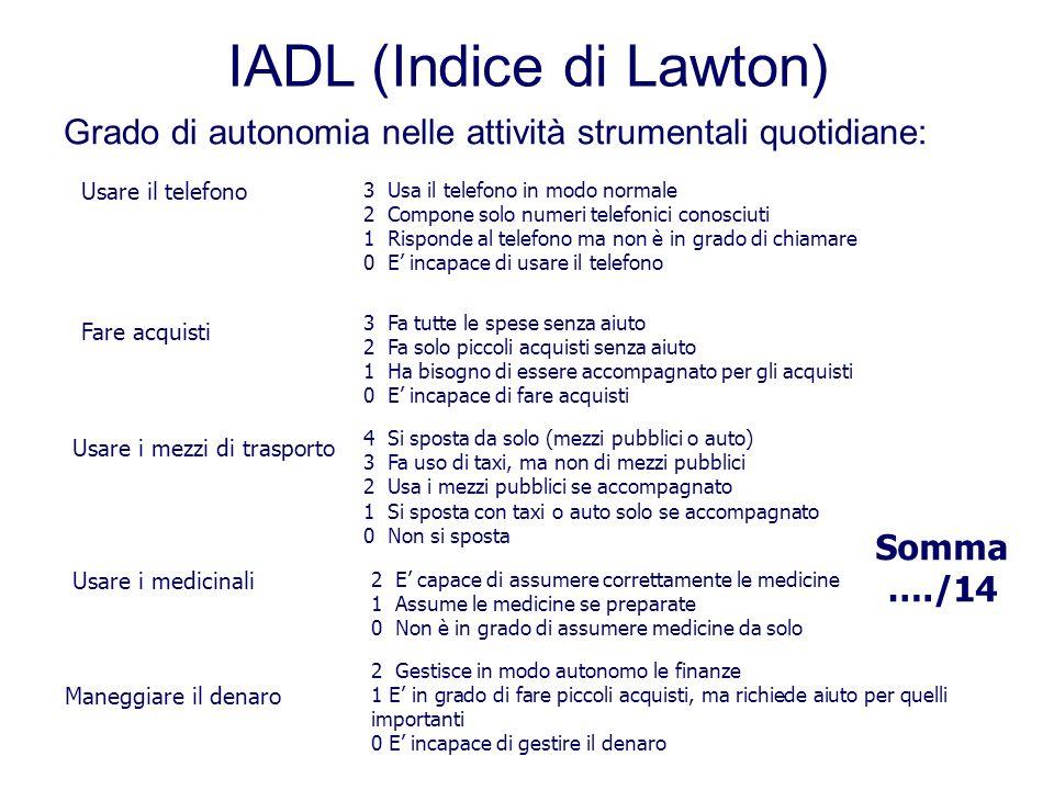 IADL (Indice di Lawton) Grado di autonomia nelle attività strumentali quotidiane: Usare il telefono 3 Usa il telefono in modo normale 2 Compone solo n