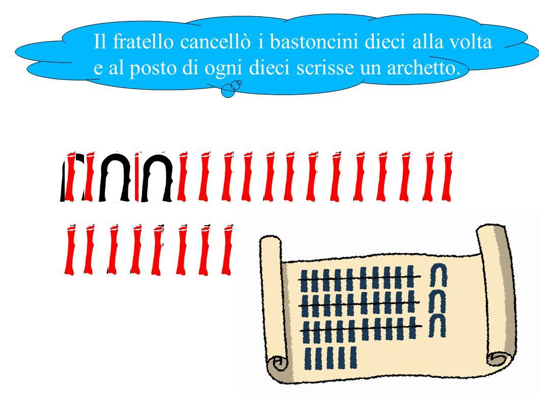 Il fratello cancellò i bastoncini dieci alla volta e al posto di ogni dieci scrisse un archetto.