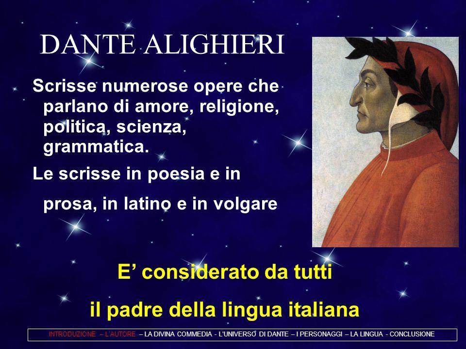 DANTE ALIGHIERI Scrisse numerose opere che parlano di amore, religione, politica, scienza, grammatica. Le scrisse in poesia e in prosa, in latino e in