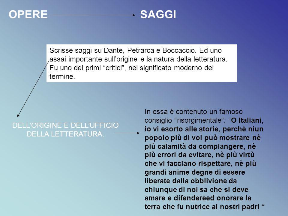 """OPERESAGGI Scrisse saggi su Dante, Petrarca e Boccaccio. Ed uno assai importante sull'origine e la natura della letteratura. Fu uno dei primi """"critici"""