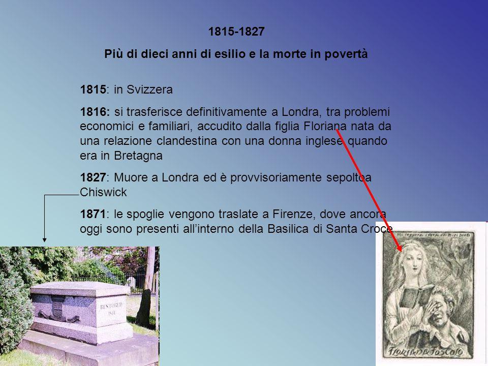 1815-1827 Più di dieci anni di esilio e la morte in povertà 1815: in Svizzera 1816: si trasferisce definitivamente a Londra, tra problemi economici e