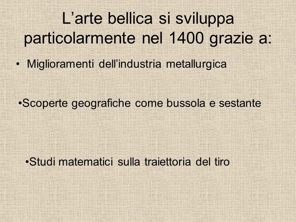 L'arte bellica si sviluppa particolarmente nel 1400 grazie a: Miglioramenti dell'industria metallurgica Studi matematici sulla traiettoria del tiro Sc