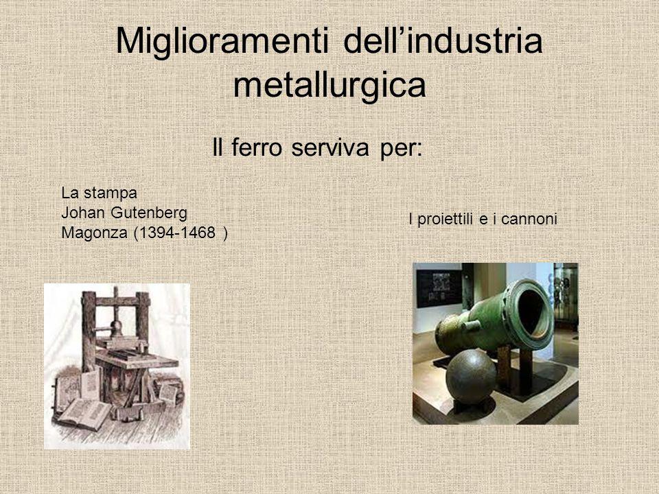 Miglioramenti dell'industria metallurgica Il ferro serviva per: La stampa Johan Gutenberg Magonza (1394-1468 ) I proiettili e i cannoni
