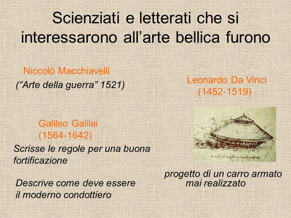 """Scienziati e letterati che si interessarono all'arte bellica furono Niccolò Macchiavelli (""""Arte della guerra"""" 1521) Leonardo Da Vinci (1452-1519) prog"""